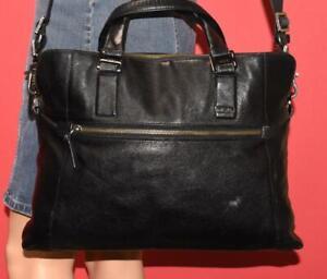 TUMI Alpha Black Napa Leather Laptop Business Carry On Laptop Luggage Bag Case