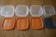 LOT of 4 SQUARE FOOD STORAGE CONTAINERS, 3 RUBBERMAID TAKEALONGS & 1 ZIPLOC