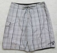 "Quiksilver Swimming Board Shorts Gray Polyester Men's Man Size Large 34"" x 10"""