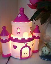 Pink Princess Castle Table Lamp -Kids Girls Bedroom Night Light Great Decor/Gift