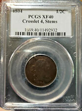 🌟Crosslet 4, Stems🌟 XF-40 1804 Draped Bust Half Cent PCGS Cheapest one on Ebay
