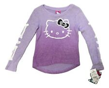 Hello Kitty Girl Size Large 10 - 12 Purple Halloween Print Long Sleeve Shirt NEW