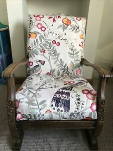 American Vintage Wooden Rocking Chair. Fully Restored And Reupholstered