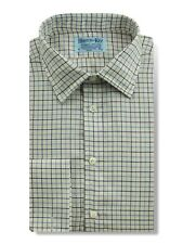 Classic Collar, Double Cuff Shirt in a White, Blue & Navy Check Twill Cotton