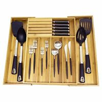 Expandable Bamboo Drawer Cutlery Tray Holder Storage Organiser with Knife Block