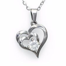 Double Heart Cubic Zirconia Pendant Necklace Silver-Plated