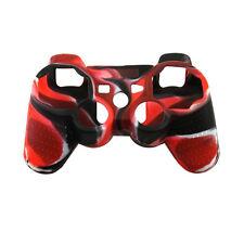 Funda Protectora de Silicona para Mando de PlayStation 3 PS3 - Negra Roja