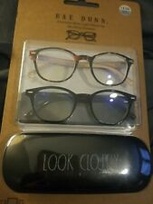 "Rae Dunn ""LOOK CLOSELY"" Blue Light Blocking Reading Glasses +01.50 set w/case"