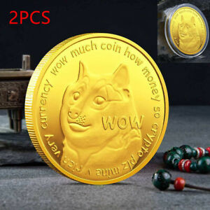 2PCS Dogecoin Commemorative Gold Plated Doge Coin Limited Edition Collectible
