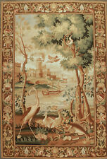 Aubusson Tapestry Hand-woven French Gobelins Weave Wool Wall Hanging Rug 4.5x7.1