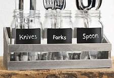 Utensil Caddy/Glass Jar with Wooden Tray (Set of 3)