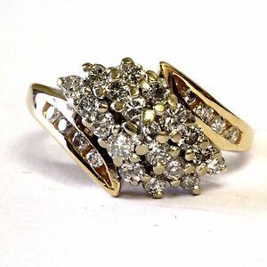 14k yellow gold .61ct diamond cluster ring 4.7g vintage estate womens ladies