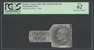 Belgium 500 Francs - General Albert Thys Medal and Design Photograph Proof UNC