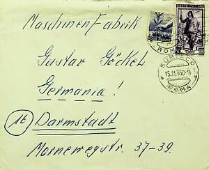 ITALY 1950 POST WWII 2v ON COVER FROM ROMA TO DARMSTADT GERMANY