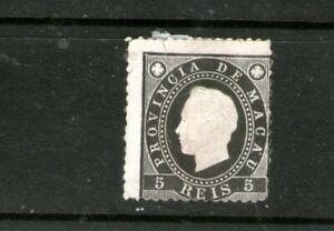 """PORTUGESE MACAU 1888 """"EMBOSSED"""" 5R BLACK (MINT-HINGED) CV $45++"""