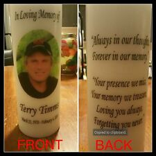 "8"" Memorial Photo Candle, Wedding Candle, Funeral Candle, Tribute, Unity, Pillar"
