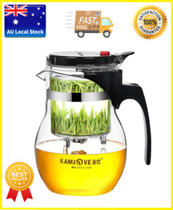 Teapots Glass Teapot With Button Controlled Infuser Tea Maker Mug Kettle 600ml