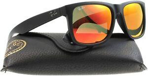 NEW Ray-Ban Justin RB4165 622/6Q Wayfarer Sunglasses/Matte Black/Red Mirror