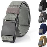 "1.5"" Tactical Mens Elastic Webbing Belt 49"" Plastic Buckle Trousers Waist Belts"