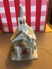 PartyLite Stoney Harbor Hand-Painted Ceramic Lighthouse Votive/Tea Light Holder