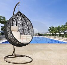 Designer Hanging Egg Chair - Rattan Wicker Outdoor Furniture Cream