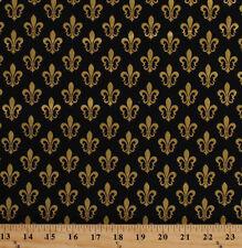 Gold Fleur de Lis French Symbol Black Cotton Fabric Print by the Yard D692.27