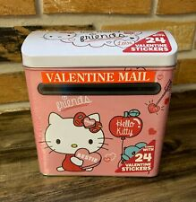 Hello Kitty Pink Valentine Tin Mailbox by Sanrio with 24 Stickers - NEW