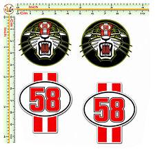 Adesivi marco simoncelli sticker auto moto casco 58 tigre print pvc 4 pezzi