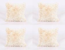 4 X LUXURIOUS PREMIUM QUALITY CREAM SHAGGY CHENILLE MODERN THICK CUSHION COVERS