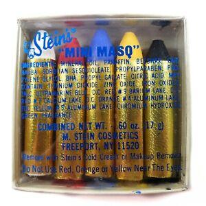 """Vintage Steins """"Mini Masq"""" 5 Color Sticks Makeup Face Paint Original Package NOS"""