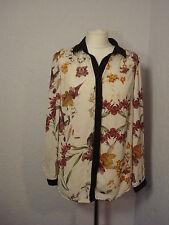 M&S Autograph ivory floral & plum collar shirt top 12