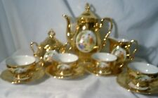 Winterling Marktleuther Bavaria Foreign DemitasseTea set Gold w People in cente