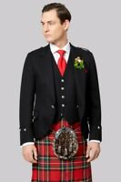"""Scottish New Men's Wool Argyle Kilt Jacket With Waistcoat/Vest-Sizes 36""""-54"""""""