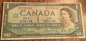 1967 CANADA 1 DOLLAR BANK NOTE
