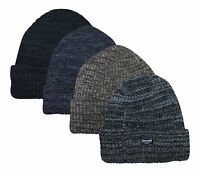 Mens Knitted Hat Thermal Insulated Warm Winter Wooly Outdoor Chunky Beanie Ski