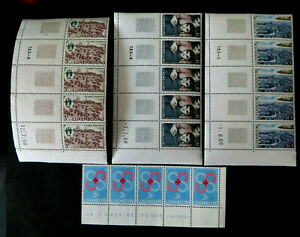 1968, Mi.Nr. 775/76, 777 + 778 als postfr. 5er-Streifen, 3x Druckdatum!! (P1780)
