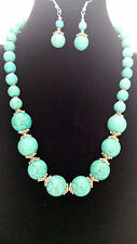 Stylish Turquoise Beads Stone Pendant Statement Necklace set
