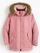NWT J Crew $298 Pink Parka with quilted lining fur hood Size M H2223 Coat Winter