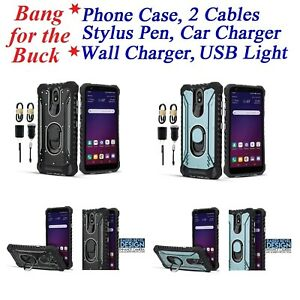"""for 5.5"""" LG Escape Plus Metal Jacket Ring Stand Hybrid Armor Bumper Phone Case +"""