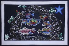 Jean Lurçat 1960 Pochoir Jacomet original Poissons tapisserie art contemporain