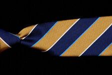 Mens Recent BROOKS BROTHERS Tie, Navy Blue Maize Yellow Repp Stripe Silk Twill