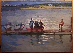 Russian Ukrainian Soviet Oil Painting nude girl beach Seascape impressionism