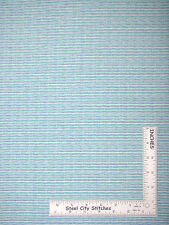 "Blue Green White Stripe Striped Cotton Fabric Baby Nursery 31"" Length"