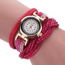 Luxury Women's Crystal Gold Bracelet Quartz Wrist Watch Rhinestone Watches