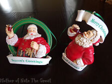 2 Vintage Coca-Cola Coke Santa Christmas Ornaments Trim a Tree Collection