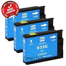 3Pk Compatible 933XL Cyan Ink Cartridge for OfficeJet 6100 6600 6700 W/Chip