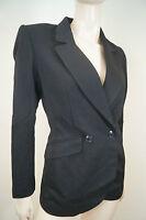 KENZO PARIS Black 100% Wool Double Breasted Formal Lined Blazer Jacket FR36; UK6
