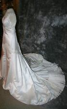 r- WEDDING GOWN SZ 12 GORGEOUS WITH TRAIN LONG WAIST BEADED ACCENT PAID 2400.