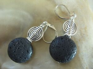 Schwarze 17 mm Lava Button Ohrringe Earrings m.Spirale & Brisuren rhodiniert