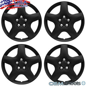 "4 New OEM Matte Black 15"" Hubcaps Fits Saturn SUV Car Center Wheel Covers Set"